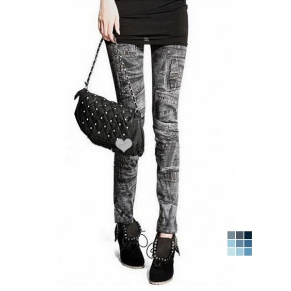 Fashion Mock Pocket Imitation Jeans Leggings by OASAP