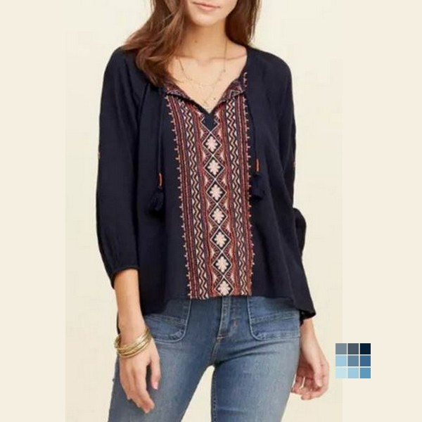 National Wind Embroidery Print Lace-up Neck Blouse by OASAP