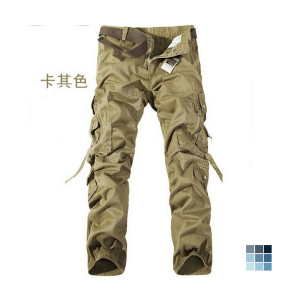 Khaki Cotton Blends Trousers by gobuu