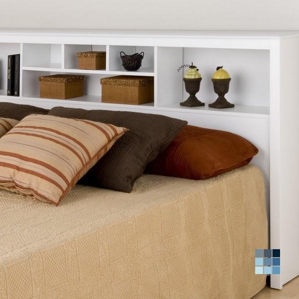 Prepac White Monterey Collection King Size Storage Headboard by Peazz